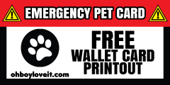 Oh Boy Love It Emergency Pet  Wallet Card Free Printout