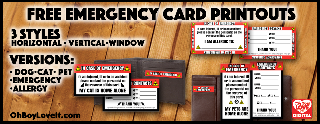 Oh Boy Love It Free Emergency Card Printouts